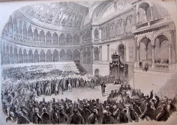 18 febbraio 1861. Apertura del primo Parlamento d'Italia a Palazzo Carignano (www.museotorino.it)